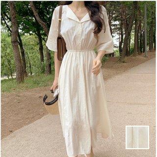 韓国 ファッション ワンピース 春 夏 カジュアル PTXK939  デコルテ見せ ゆったり Aライン エレガント オルチャン シンプル 定番 セレカジ