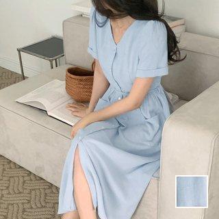 韓国 ファッション ワンピース 春 夏 カジュアル PTXK940  ゆったり ギャザーディテール パフスリーブ オルチャン シンプル 定番 セレカジ