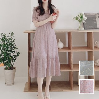 韓国 ファッション ワンピース 春 夏 カジュアル PTXK947  シアー 小花 ハイウエスト Aライン ギャザー オルチャン シンプル 定番 セレカジ