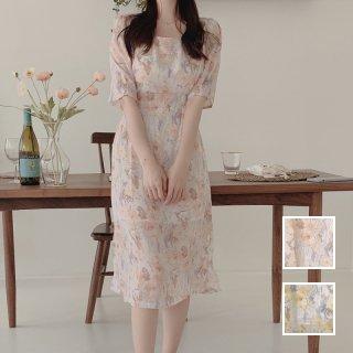 韓国 ファッション ワンピース 春 夏 カジュアル PTXK948  淡色 シアー ノーカラー セミフレア エレガント オルチャン シンプル 定番 セレカジ