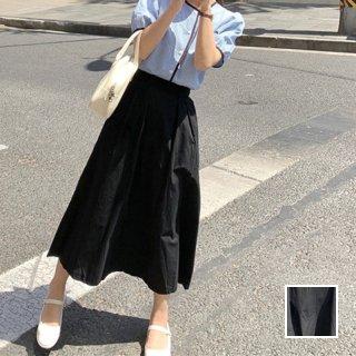 韓国 ファッション スカート ボトムス 春 夏 カジュアル PTXK951  ギャザー マキシ フレア ナチュラルテイスト オルチャン シンプル 定番 セレカジ