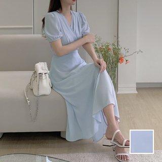 韓国 ファッション ワンピース 春 夏 カジュアル PTXK955  シアー シフォン風 ドレープ エレガント オルチャン シンプル 定番 セレカジ
