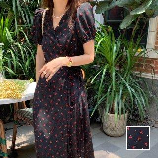 韓国 ファッション ワンピース 春 夏 カジュアル PTXK956  パフスリーブ シアー ラップドレス チェリー オルチャン シンプル 定番 セレカジ