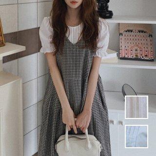 韓国 ファッション セットアップ 春 夏 カジュアル PTXK957  チェック ジャンスカ タックブラウス 着回し オルチャン シンプル 定番 セレカジ