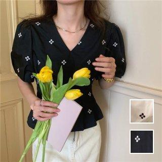 韓国 ファッション トップス ブラウス シャツ 春 夏 カジュアル PTXK960  パフスリーブ Vネック ペプラム プルオーバー オルチャン シンプル 定番 セレカジ
