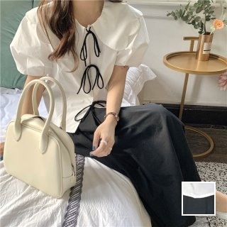 韓国 ファッション セットアップ 春 夏 カジュアル PTXK963  スカラップ ビッグカラー リボン ギャザー オルチャン シンプル 定番 セレカジ