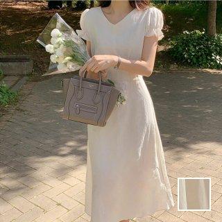 韓国 ファッション ワンピース 春 夏 カジュアル PTXK965  Vネック シアー フレア パフスリーブ Aライン オルチャン シンプル 定番 セレカジ