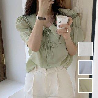 韓国 ファッション トップス ブラウス シャツ 春 夏 カジュアル PTXK969  フロントリボン Vネック ドレープ パフスリーブ オルチャン シンプル 定番 セレカジ