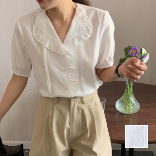 韓国 ファッション トップス ブラウス シャツ 春 夏 カジュアル PTXK975  フリル Vネック パイピング コットン風 オルチャン シンプル 定番 セレカジ