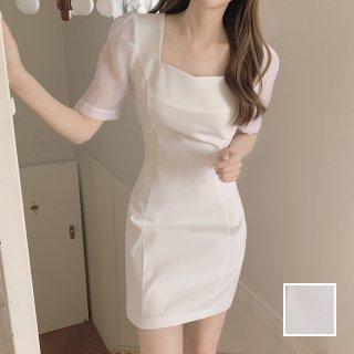 韓国 ファッション ワンピース 春 夏 カジュアル PTXK980  異素材ミックス シースルー袖 タイト ミニ オルチャン シンプル 定番 セレカジ
