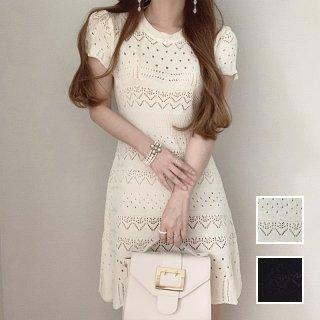 韓国 ファッション ワンピース 春 夏 カジュアル PTXK998  透かし編み スカラップ ミニ ニットワンピ オルチャン シンプル 定番 セレカジ