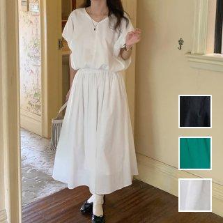 韓国 ファッション セットアップ 春 夏 カジュアル PTXL030  オーバーサイズ 肌見せ ギャザースカート オルチャン シンプル 定番 セレカジ