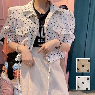 韓国 ファッション アウター ブルゾン 春 夏 カジュアル PTXL088  ドット パフスリーブ ジャンパー ジャケット オルチャン シンプル 定番 セレカジ