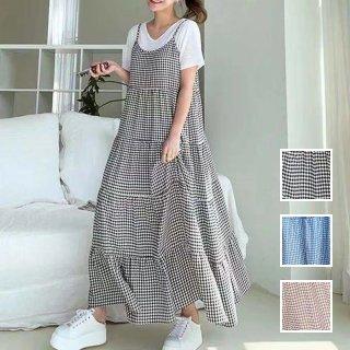 韓国 ファッション セットアップ 春 夏 カジュアル PTXL093  チェック ティアード キャミワンピ Tシャツ オルチャン シンプル 定番 セレカジ
