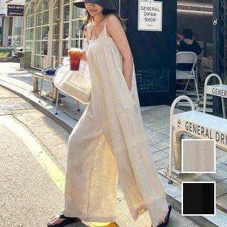 韓国 ファッション オールインワン オーバーオール 春 夏 カジュアル PTXL126  シアー オーバーオール ワイド ドレープ オルチャン シンプル 定番 セレカジ