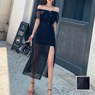 韓国 ファッション パーティードレス 結婚式 お呼ばれドレス セットアップ 春 夏 パーティー ブライダル PTXL228  フレアトップ オフショルダー マイクロミニ 二次会 セレブ きれいめ