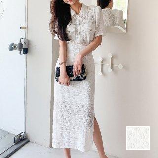韓国 ファッション パーティードレス 結婚式 お呼ばれドレス セットアップ 春 夏 パーティー ブライダル PTXL235  シアー 刺繍 ハイウエスト スリット タイト 二次会 セレブ きれいめ