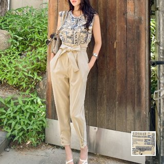 韓国 ファッション パンツ セットアップ パーティードレス 結婚式 お呼ばれドレス 春 夏 パーティー ブライダル PTXL260  ロゴ ハイウエスト テーパード  エレガ 二次会 セレブ きれいめ