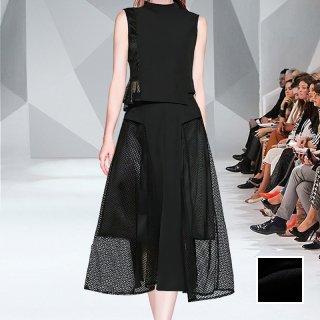 韓国 ファッション パーティードレス 結婚式 お呼ばれドレス セットアップ 春 夏 パーティー ブライダル PTXL288  メッシュ シースルー アシンメトリー フレア 二次会 セレブ きれいめ