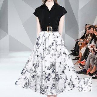 韓国 ファッション パーティードレス 結婚式 お呼ばれドレス セットアップ 春 夏 パーティー ブライダル PTXL289  モノトーン フレンチスリーブ フレア 線画 二次会 セレブ きれいめ