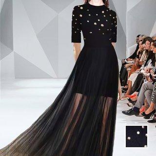韓国 ファッション パーティードレス 結婚式 お呼ばれドレス セットアップ 春 夏 パーティー ブライダル PTXL291  シースルー レイヤード ハイネック リブニット 二次会 セレブ きれいめ