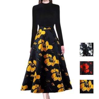 韓国 ファッション パーティードレス 結婚式 お呼ばれドレス セットアップ 春 夏 秋 パーティー ブライダル PTXL292  ハイネック リブニット 大柄 フレア マキシ 二次会 セレブ きれいめ
