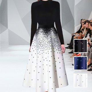 韓国 ファッション パーティードレス 結婚式 お呼ばれドレス セットアップ 春 夏 秋 パーティー ブライダル PTXL293  ハイネック リブ グラデ風 ドット フレア 二次会 セレブ きれいめ