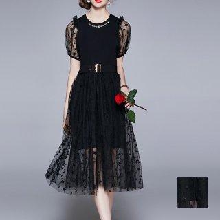 韓国 ファッション パーティードレス 結婚式 お呼ばれドレス セットアップ 春 夏 パーティー ブライダル PTXL313  シースルー 星 月 バルーン袖 ギャザースカート 二次会 セレブ きれいめ