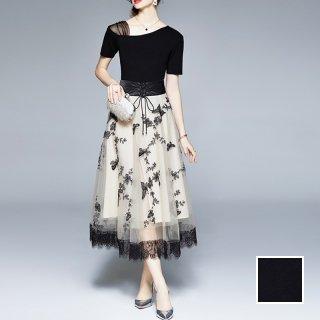 韓国 ファッション パーティードレス 結婚式 お呼ばれドレス セットアップ 春 夏 パーティー ブライダル PTXL317  モノトーン ワンショルダー ドレープ マキシ 二次会 セレブ きれいめ