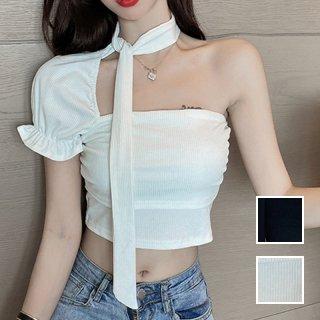 韓国 ファッション トップス Tシャツ カットソー 春 夏 カジュアル PTXL332  ワンショルダー チョーカー風 クロップド リブ オルチャン シンプル 定番 セレカジ