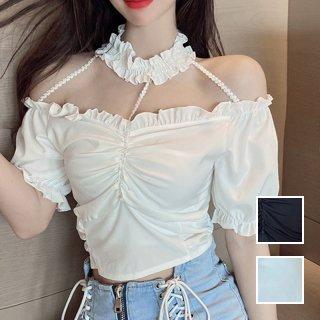 韓国 ファッション トップス Tシャツ カットソー 春 夏 カジュアル PTXL341  オフショルダー チョーカー風 クロップド オルチャン シンプル 定番 セレカジ