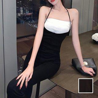 韓国 ファッション パンツ セットアップ パーティードレス 結婚式 お呼ばれドレス 春 夏 パーティー ブライダル PTXL359  ホルターネック チューブトップ ブーツカ 二次会 セレブ きれいめ
