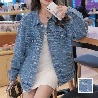 韓国 ファッション アウター ブルゾン 春 秋 冬 カジュアル PTXL516  ロゴ くすみブルー オーバーサイズ Gジャン オルチャン シンプル 定番 セレカジ