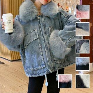 韓国 ファッション アウター ブルゾン 秋 冬 カジュアル PTXL554  ビッグシルエット もこもこ エコファー デニム オルチャン シンプル 定番 セレカジ