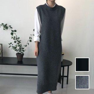 韓国 ファッション ワンピース 秋 冬 カジュアル PTXL569  リブニット ゆったり レイヤード マキシ ラフ オルチャン シンプル 定番 セレカジ