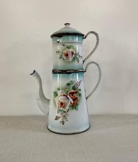 French Enamel Pot Rose