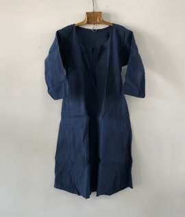 French vintage indigo linen smock