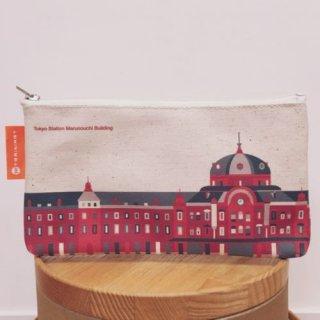 【トレニアート】 ペンケース  東京駅丸の内駅舎 ホワイト