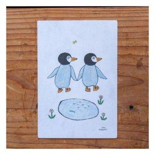 【手紙舎】茂苅恵 ポストカード ペンギンとペンギンとちょう