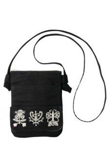【People Tree】手刺繍ジュートサコッシュ (ブラック系)