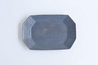 グレー釉 / 八角長方皿プレート / 小  - 古谷製陶所  -