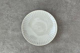 5寸皿 / まる菊 / やわグレー - たくまポタリー -