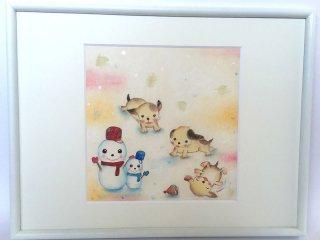 絵本作家あきばたまみさんデザイン『雪のわんこ』