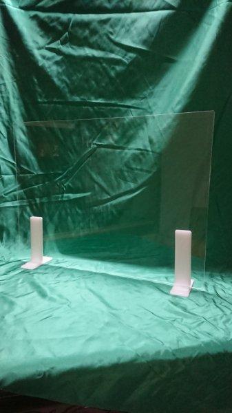 【セットでお得!!】アクリルパーテーション2�厚 600�×450� アクリル製脚(乳半色)2個付