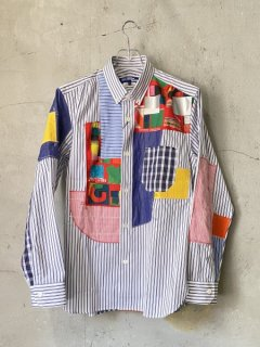 JUNYA WATANABE COMME des GARCONS MAN綿ストライプ×多素材パッチワークシャツ