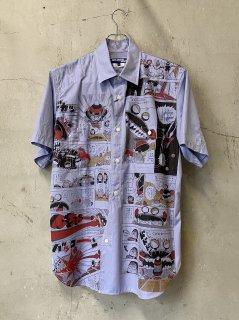 JUNYA WATANABE COMME des GARCONS MAN 綿シャンブレーツイル Dr.スランププリント 半袖シャツ