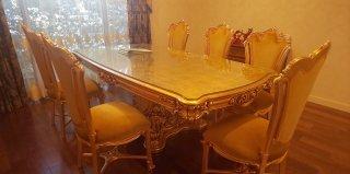 アポッロニアテーブル+椅子8客セット 金箔仕上げ(品番SIL-9975+SIL-9977セット)