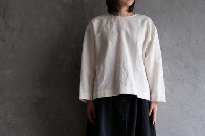 muku - コットンリネンウールバックボタンシャツ〈ミルク〉