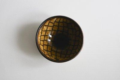 七尾佳洋 - 4寸鉢〈飴釉・練込・網目〉