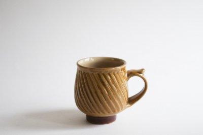 湯町窯 - モーニングマグ〈黄釉・斜め鎬〉